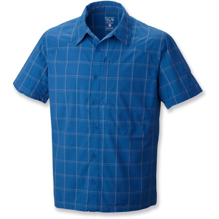 Camp and Hike The Mountain Hardwear Nollaf shirt combines simple styling with rich colors to keep you looking sharp while you're on the trail. Blend of Supplex(R) nylon and polyester resists wrinkles, dries quickly and stands up to regular wear. With a UPF 50+ rating, fabric provides excellent protection against harmful ultraviolet rays. Seams are rotated away from pressure points for comfort under pack straps. Zippered chest pocket secures your trail items. Flip up the collar on the Mountain Hardwear Nollaf shirt to shade your neck from the sun. - $48.93