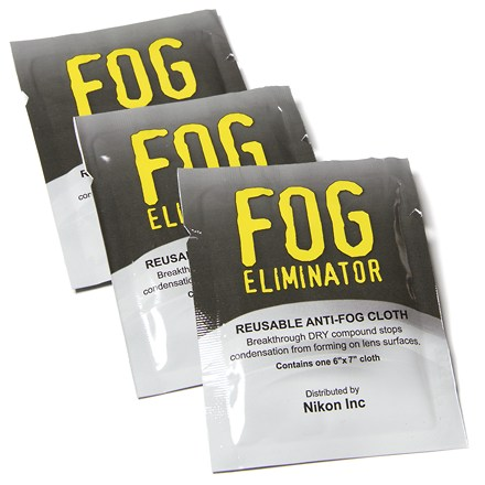 Entertainment These reusable microfiber cloths eliminate fog--wipe it on lens, fog stays gone! For use on binoculars, spotting scopes, eye glasses, cameras and goggles. Breakthrough DRY compound stops condensation from forming on lens surfaces. Includes three cloths and convenient dry storage pouch. - $6.95