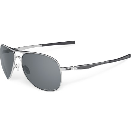 Entertainment The Oakley Plaintiff polarized sunglasses feature shatterproof polycarbonate lenses, flexible metal frames and glare-reducing polarization, all in a time-honored style. - $200.00