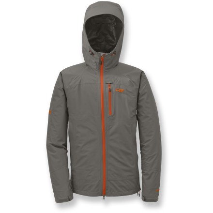 The waterproof, breathable Outdoor Research Foray shell jacket with all-season features easily shrugs off trail wear-and-tear and provides solid protection when a downpour sets in. - $215.00