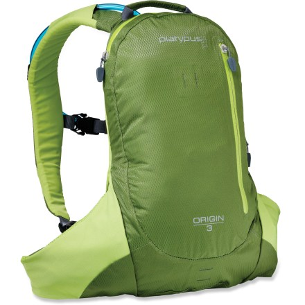 "Camp and Hike With lash points, light loops and reflective detailing, the Playtpus Origin 3 hydration pack offers hydration and gear storage for utlralight trail runs. Main compartment features a dedicated pocket for a reservoir and room for a layer of clothing and a few essentials. Vertical front zippered pocket holds often-used items; small zippered organizer pocket with a key clip helps keep your essentials organized and easy to access. Twin waist pockets stash small, on-the-go essentials such as lip balm, sunscreen and a multi-tool. 2.0 Big Zip SL 2-liter reservoir features a ""self-energizing"" seal to prevent accidental opening; rounded corners make it easy to clean. SlideLock with secondary reinforcement helps ensure a secure and easy closure every time. HyperFlow(TM) bite valve delivers a high rate of thirst-quenching flow; it features a shut-off valve and a 90deg angle for easy drinking. Reservoir is lined with SlimeGuard(TM), an antimicrobial treatment that helps keep water fresh and taste-free. Also features lightly padded shoulder straps, sternum strap, webbing waistbelt and 2 integrated tube clips (1 on each shoulder strap for directing the drinking tube). Waterproof, welded, all-weather zippers and heat-taped seams help create a weatherproof haven for your gear. Closeout. - $34.73"