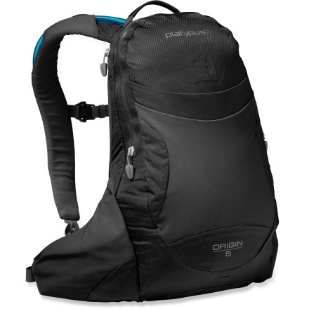 "Camp and Hike The Origin 5 hydration pack from Platypus offers practical hydration and gear storage to keep you fueled up for an ultralight day excursion. Main compartment features a small hanging zippered organizer pocket and key clip, helping you keep your essentials close at hand and easy to access. Front stash pocket holds often-used items such as extra layers. Twin waist pockets stash small, on-the-go essentials such as lip balm, sunscreen and a multi-tool. 2.0 Big Zip SL 2-liter reservoir features a ""self-energizing"" seal to prevent accidental opening; rounded corners make it easy to clean. SlideLock with secondary reinforcement helps ensure a secure and easy closure every time. HyperFlow(TM) bite valve delivers a high rate of thirst-quenching flow; it features a shut-off valve and a 90deg angle for easy drinking. Reservoir is lined with SlimeGuard(TM), an antimicrobial treatment that keeps water fresh and taste frees. Also features padded shoulder straps, sternum strap, webbing waistbelt and 2 integrated tube clips (1 on each shoulder strap for directing drinking tube). Waterproof, welded, all-weather zippers and heat-taped seams ensure a weatherproof construction. Closeout. - $16.73"