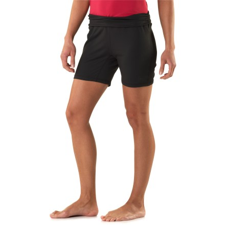 Fitness The REI Sariska shorts are at home on a yoga mat, atop an elliptical trainer or along a local trail. Polyester and spandex blend offers moisture-wicking comfort, protects against UV light and provides 4-way stretch. Brushed finish feels soft against skin. Fold-over waistband personalizes the fit. Gusseted crotch increases range of motion. The REI Sariska shorts provide a full range of motion with an active fit. - $39.50