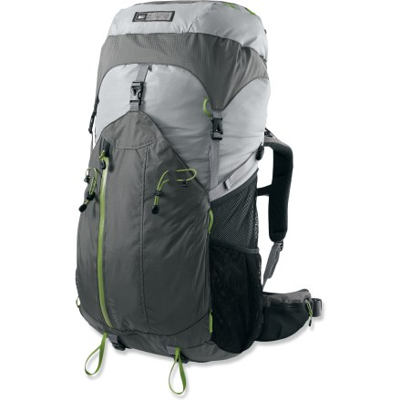 Camp and Hike The REI Flash 65 women's pack sports a balanced mix of light weight, comfortable suspension and versatile features to keep you trail ready. Removable framesheet, stays and top lid let you create a minimalist configuration for incredible weight savings. Minimalist configuration weighs a scant 2 lbs. Precurved hipbelt is designed specifically to fit a woman's contours; it cradles the hips for a natural fit and evenly distributes load weight without sagging. Hipbelt webbing system allows you to use a natural forward pulling motion for quick, easy cinching and precise adjustment. Hipbelt has a zippered pocket for on-the-go access to essentials such as snacks and lip balm; lash points on the other side let you attach a camera bag or GPS pouch. Precurved, dual-density padded shoulder straps match your anatomy for nonbinding comfort and stability. Back panel features mesh-covered, perforated foam for breathability and a fixed suspension system for low weight and easy use. Twin aluminum tubular stays and a precurved, perforated HDPE framesheet maximize structure and minimize weight. Under the lid, an over-the-top compression strap pulls the load in close to your back and provides a place for lashing on climbing ropes or other bulky items. Over-the-top compression strap has a thin storage pocket to stash a few small essentials; includes a key clip and a rip-and-stick closure to secure cash and ID. Deep, catch-all front pocket keeps large, often-used items within easy reach. 2 mesh pockets on each side hold water bottles and other stowables. Water-resistant zippers on top and front pockets and a rip-and-stick closure on the pocket underneath the lid allow you to safely store valuables away from the elements. Multiple lash points on the top pocket and front of pack provide attachment points to carry additional gear. - $83.73