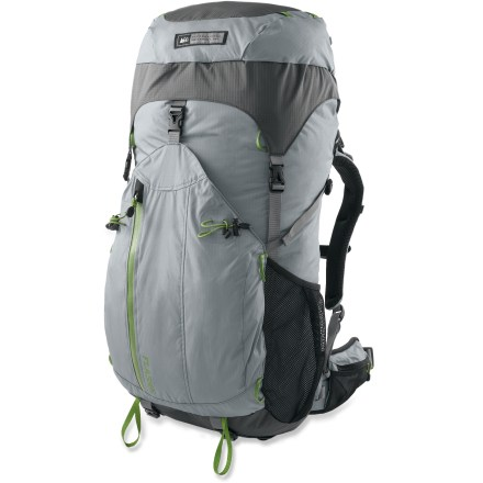 Camp and Hike The multiday REI Flash 50 women's pack has a balanced mix of light weight, versatile features and comfortable suspension-keep comfortable while exploring the backcountry. Removable framesheet/stays and top lid let you create a minimalist configuration for incredible weight savings. Minimalist configuration weighs a scant 29 oz. Precurved hipbelt is designed to cradle hip bones for a natural fit and to distribute weight without sagging. Hipbelt webbing system lets you use a natural forward pulling motion for quick, easy cinching and precise adjustment. Hipbelt has a zippered pocket for on-the-go access to essentials such as snacks and lip balm; lash points on the other side let you attach camera and GPS pouches. Precurved, dual-density padded shoulder straps match your anatomy for nonbinding comfort and stability on and off the trail. Backpanel and lumbar feature mesh-covered perforated foam for breathability and a fixed suspension system for low weight and easy use. Twin aluminum tube stays and precurved, perforated HDPE framesheet maximize structure and minimize weight. Underneath the lid, over-the-top compression strap pulls load in close to your back and provides a place for lashing on bulky items such as climbing ropes. Over-the-top compression strap has a thin storage pocket to stash a few small essentials; clip for key and a rip-and-stick closure keep cash and ID secure. Deep catch-all front pocket keeps large often-used items within easy reach for long day trips and peak bagging. Large, gusseted mesh side pockets hold items for quick access. Water-resistant zippers on top and front pockets, and a rip-and-stick closure on pocket underneath lid allow you to stash valuables away from the elements. Multiple lash points on top pocket and front of pack let you strap on bulky gear (such as a bear-proof canister) or add your own bungee system. - $73.73
