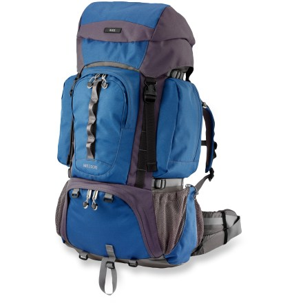 Camp and Hike The REI Meteor pack is designed for young hikers heading into the outdoors. It's built to fit kids from approximately 10 - 16 years old. Contoured, padded shoulder straps with breathable panels offer carrying comfort; contoured hipbelt wraps around hips for support. Durable molded foam back panel features channels for air circulation, increasing ventilation to keep child's back cool and dry. Load-lifter straps and sternum strap help balance and position pack properly; dual aluminum stays distribute the weight evenly. With a rip-and-stick torso adjustment, shoulder strap system easily slides on pack's frame to fit torsos of varying lengths. Features top-loading main compartment, floating top pocket, 2 large zippered side pockets and front essentials pocket. The side pockets are large enough to hold 1-liter water or fuel bottles and a fishing pole can be strapped behind them. Right pocket is hydration compatible; with a tube exit port and hanging toggles, it can hold a 1-liter reservoir, not included. Externally accessible sleeping bag compartment with a zip-away internal divider handles bulky bags. Single tool loop, front daisy chain and 4 accessory points for lashing on additional gear. Side compression straps let you cinch down loads for jostle-free carrying. Made of lightweight yet tough 420-denier ripstop nylon, 600-denier polyester and 840-denier ballistic nylon bottom for durability. Special buy. - $85.93