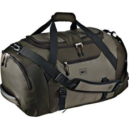 Entertainment The REI Cargo Weekender bag meets your organizational needs, weekend or weekday. Large, U-shape zipper provides easy access to main compartment. 2 roomy end pockets: 1 padded, water-resistant pocket designed for dirty shoes and one with a floating liner for dirty laundry. 3 exterior zippered pockets and top zippered pocket with travel organizer and key fob provide plenty of additional storage options. Side carry straps with buckles secure yoga mat or jacket. Sling over your shoulder with the padded, fully adjustable and removable shoulder strap or grab the 2 padded end handles. Bottom of bag features handy zip-away backpack straps for longer-duration carrying capabilities. Special buy. - $61.73