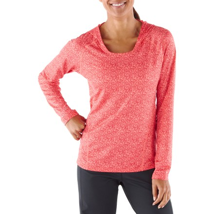 Fitness Fend off the chills of an early morning run with the women's REI Fleet hoodie. Soft polyester and spandex fabric blend comfortably moves with you during active pursuits. Moisture-wicking fabric dries fast so you won't feel chilled when a breeze kicks up. Fabric provides UPF 50+ sun protection, shielding skin from harmful ultraviolet rays. Mesh fabric along sleeves and back enhances ventilation. Dropped hem increases back-side coverage. Reflective detailing along hem increases visibility in low light. The REI Fleet hoodie offers an active fit that moves with you. - $44.50