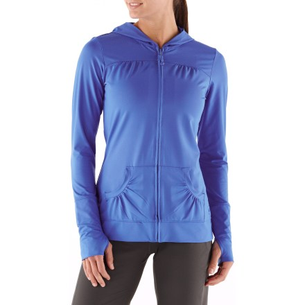 Fitness You'll love to wear the REI Sariska jacket before and after yoga practice thanks to its soft fabric and cozy hand pockets. Polyester and spandex fabric wicks moisture off skin, and you'll love its soft feel and 4-way stretch. Fabric provides UPF 50+ sun protection, shielding skin from harmful ultraviolet rays. Warm hand pockets shelter your hands. Full-length zipper features an elastic zipper pull that can be used as an emergency hair tie in a pinch. Thumbholes cover wrists and enhance warmth. Back length is 26.5 in. Active fit offers a full range of motion. - $16.83