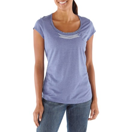 Camp and Hike Summer days call for cute T-shirts. The REI Aldervale T-shirt offers a modern take on an old favorite. The Aldervale tee is made with a travel-wise Tencel(R) lyocell blend, offering supple softness with a nice drape for refined style on the road or at home. Dries overnight, so it's a practical travel choice. Fabric provides UPF 35 sun protection, shielding skin from harmful ultraviolet rays. Flattering scoop neck has plaid inset material, and rivet and pintuck detailing. Sweet little chest pocket. REI Averdale T-shirt fits slim at the shoulders and opens up towards the hem with a versatile drop tail. - $18.83