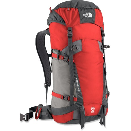 Camp and Hike Perfect for an epic day on the mountain, the lightweight North Face Prophet 40 pack is made to handle the stress that comes with heavy use. Features virtually indestructible Bombastic(TM) fabric, typically used for car airbags. SuperFabric(R) tool-attachment zones are reinforced to withstand heavy use. Double fabric on base of pack offers enhanced abrasion resistance. Lightweight tubular stay creates load stability. Back panel and hip belt use E-VAP(TM) perforated foam to eliminate excess weight and circulate air through channels. Side compression straps with Hypalon(R) synthetic rubber reinforcement wings secure both large and small loads for increased stability. Generously sized hood with zippered stash pocket. The North Face Prophet 40 pack has a side zip pocket. Closeout. - $124.93