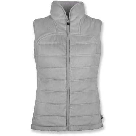 Entertainment The North Face Mossbud insulated reversible vest delivers cozy warmth with a design that doubles your style options and lets you choose your specific look. Smooth polyester fabric features PrimaLoft(R) Eco recycled polyester insulation for warmth and comfort. Reversible side features contrasting high-loft polyester pile fleece that's warm and comfortable. Fabric provides UPF 50+ sun protection, shielding skin from harmful ultraviolet rays. Secure snap pockets on smooth polyester side. Bound neck and armholes ensure comfort and a great fit. Closeout. - $64.93
