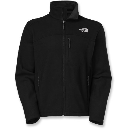 Entertainment Layer is up or wear it alone, The North Face Collins jacket is a go-everywhere staple that insulates in cool-to-cold weather. Made from polyester fabric, jacket has a smooth, non-pilling outer face, a warm fleecy inner face and comfortable 4-way stretch. Features full-front zipper with an inside windflap that doubles as a chin guard; tall collar keeps neck warm. 2 zippered handwarmer pockets and a single zippered chest pocket. Closeout. - $88.93
