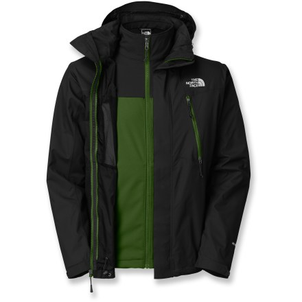 Entertainment The North Face Condor Triclimate(R) 3-in-1 jacket gives you options for the changing weather. A removable soft-shell liner zips into the waterproof, breathable shell. 2-layer HyVent(R) waterproof, breathable fabric uses an outer layer that repels water and wind and a protective inner layer with micropores to channel water outward. Soft-shell liner jacket features windproof TNF(TM) Apex ClimateBlock fabric on the outside and a cozy fleece backer, offering great insulation on its own or under a shell. Soft-shell liner zips into the exterior shell when harsh weather demands ultimate protection; wear either piece on its own for lighter, more flexible coverage. 2 zip handwarmer pockets; 2 zip chest pockets also act as vents; liner jacket features 2 zip hand pockets. Rip-and-stick closures on front storm flap and cuffs. The North Face Condor Triclimate 3-in-1 jacket has an adjustable, removable hood and drawcord hem. Closeout. - $197.93