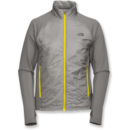 Fitness The North Face Anamagi jacket is an ultralight style with PrimaLoft(R) Eco insulation at core, stretch knit panels at sides and sleeves. Ideal for extended aerobic activity in cold, dry weather. Front zippered handwarmer pockets. Thumb loops at sleeve. Hem is slightly lower in back for better coverage. Reflective detailing increases your visibility in low light. Fabric provides UPF 30 sun protection, shielding skin from harmful ultraviolet rays. The North Face Anamagi jacket features a performance fit. From the Flight Series(TM), developed by The North Face and tested by outdoor athletes; designed for done-in-a-day and weekend adventures. Closeout. - $48.73