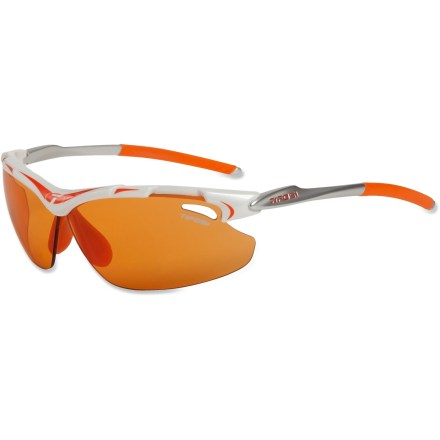 Entertainment The Tifosi Tyrant Fototec(TM) sunglasses are designed for adventures in the sun and shade. Lenses automatically adjust tint so you can keep going without stopping to swap lenses or sunglasses. Fototec photochromic lenses automatically adjust tint according to light conditions; lenses darken in bright light and lighten when there's less light. Frames feature Fototec backcountry orange lenses that are ideal for hikes or bike rides through the woods, when you're in and out of the shadows. NXT Trivex optical polymer lenses provide superior optical clarity and are virtually indestructible. Grilamid(R) TR90 lightweight nylon frames offer a consistent fit and flexibility in all temperatures and are extremely impact resistant. Ventilated lenses increase airflow to help eliminate fogging. Adjustable, hydrophilic rubber nosepieces and temple ends become tackier when wet for reliable grip during exercise and hot weather. Fits small to medium faces. Tifosi Tyrant Fototec sunglasses include a semirigid zippered storage case and cleaning cloth. - $69.95