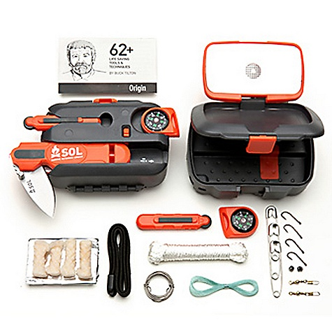 Features of the Adventure Medical Kits SOL Origin Survivial Tool 1 Sewing Needle, #7, Darner Survival Instructions: 1 62 Lifesaving Tools & Techniques 1 Aluminum Foil, Heavy Duty, 3 Sq. Ft. 1 Combination Knife, LED Light & Whistle 1 Compass, Button, Liquid Filled 1 Fire Lite Fire Striker 4 Fish Hook, #10 1 Fishing Line 1 Safety Wire, Stainless Steel, (6 ft of 0.020in.) 1 Signal Mirror, Rescue Flash 2 Snap Swivel, Size 12 2 Split Shot, Lead B 4 Tinder Quick AUS 8 steel blade with lockable liner is harder, holds an edge longer and sharpens easier than common steel Rescue Flash Signal Mirror flips open from top lid and Features 20 mile signal power Fire Lite striker emits a powerful shower of sparks Whistle - pealess and fail-safe up to 100db 10 lumen LED light provides powerful task lighting Removable directional compass Waterproof compartment protects your valuables Additional 10' stainless steel wire, 10' nylon cord, foil, tinder and survival instructions help you get back alive - $34.99