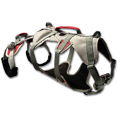 Entertainment Free Shipping. Ruffwear Doubleback Harness DECENT FEATURES of the Ruffwear Doubleback Harness Harness is strength-rated to 2,000 lbf or 8.9kN Padded belly support, adjustable frame, and leg loops for steady weight dispersion Strength-rated, adjustable martingale for a customized fit Four strength-rated, anodized aluminum lace-back buckles for safety and durability Strength-rated tie-in point for easy rope attachment Leg loops can be tucked away for increased mobility during approach The SPECS Dog's Girth: Extra Small: 17-24in. / 43-61 cm Small: 24-30in. / 61-76 cm Medium: 29-34in. / 74-86 cm Large: 34-42in. / 86-107 cm - $124.95