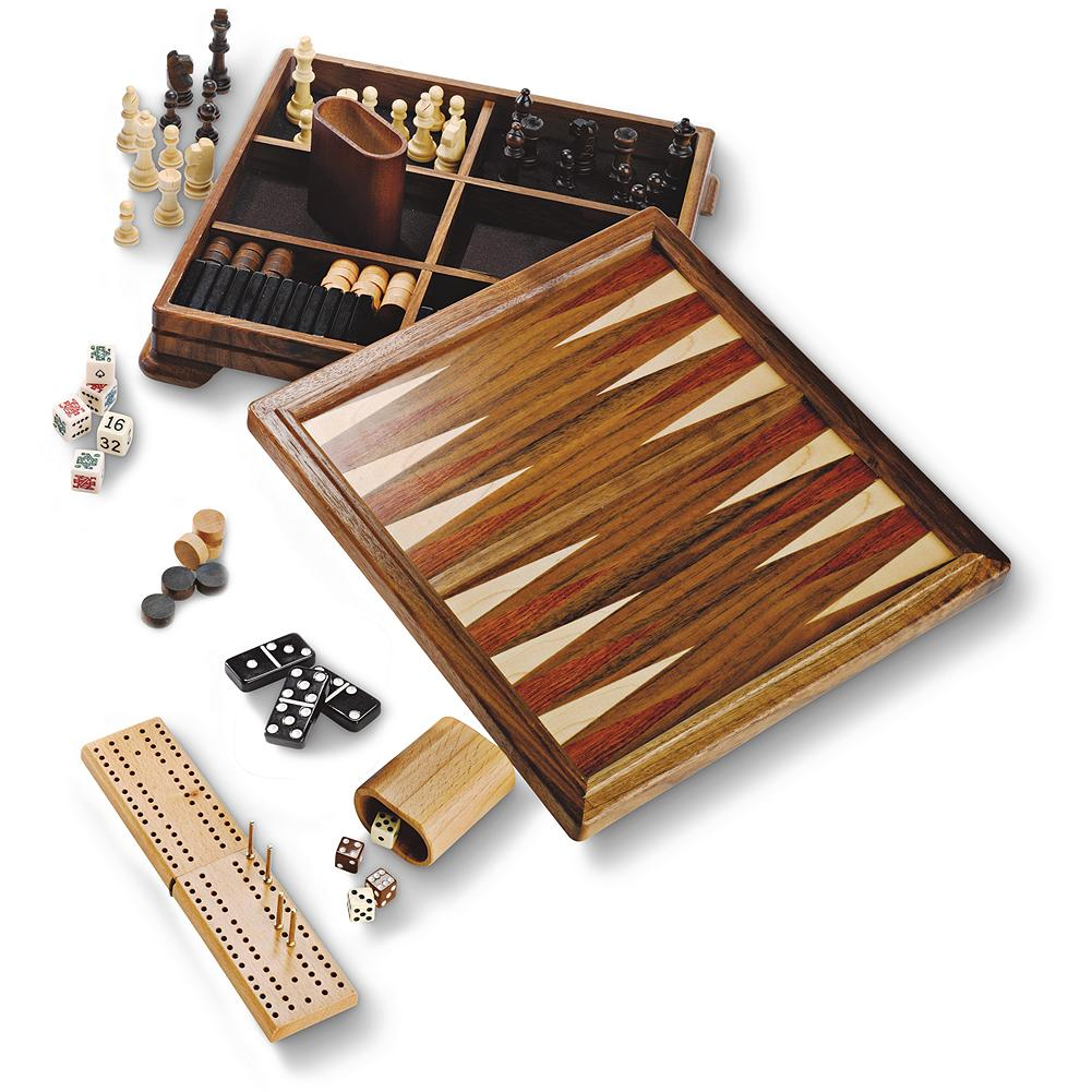 Entertainment Eddie Bauer 7-In-1 Game Set - We've got everything you need for an evening of games, including dominoes, cribbage, chess, checkers, backgammon, poker dice, and cards. Beautifully crafted in walnut. Imported. - $59.99