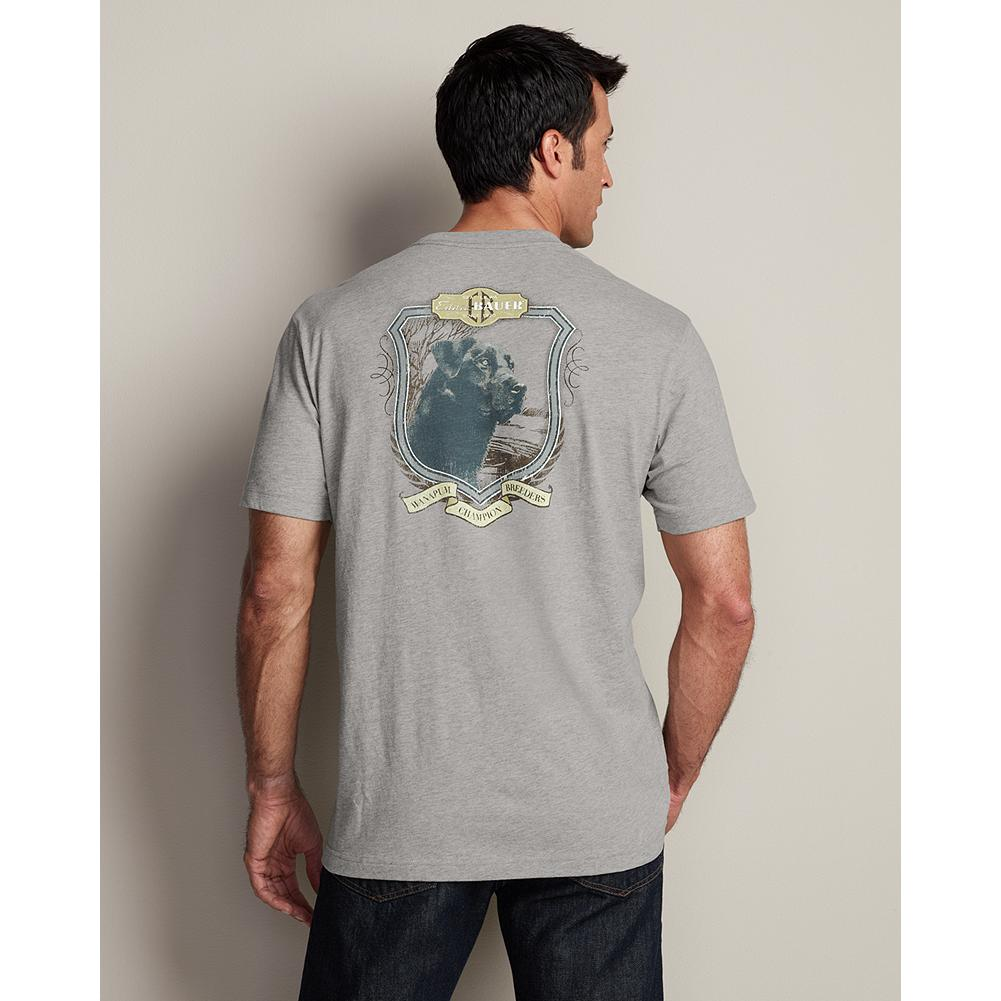 "Eddie Bauer Classic Fit Lab Back Graphic T-Shirt - Our exclusive Legend Wash graphic T-shirt features an image of Eddie Bauer's favorite canine. Classic fit. Soft Legend Wash cotton. Rib trim collar. Length, size M: Reg. 29 1/2"". Imported. - $14.99"