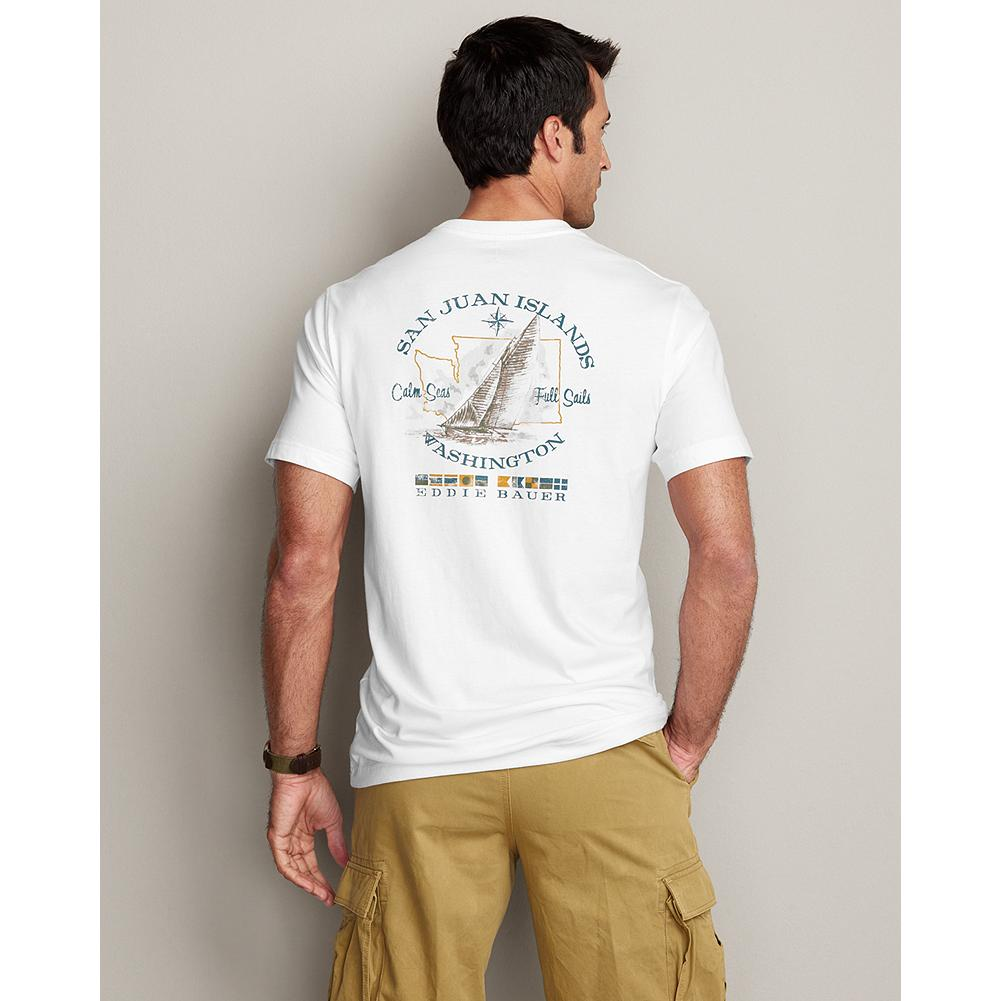 Eddie Bauer Classic Fit Graphic T-Shirt - San Juan Sailing - Our short-sleeve T-shirt is made of soft, lightweight cotton and features our exclusive, archive-inspired graphics on the back and left chest. - $11.99