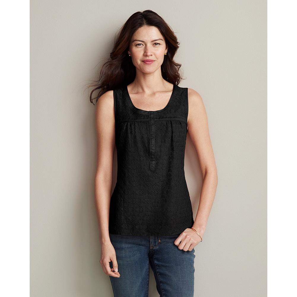Surf Eddie Bauer Lace Henley Tank Top - Our ultra-feminine henley is made entirely of sheer lace, and layers beautifully over a cami. Cotton lawn trim. Cotton/nylon. Classic fit. Imported. - $19.99