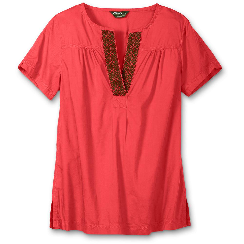 "Eddie Bauer Embroidered Tunic - Tribal chic--a breezy tunic with Native American-inspired embroidery. Yoke gathers for a feminine fit. Mandarin collar, side slits at hem and triple-needle stitch details. Easy fit. Length: 28"". Imported. - $14.99"