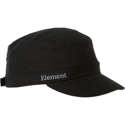 Skateboard Another hazy Friday night on campus and your dorm mom is breathing down your neck over the pony keg that magically appeared in your alcohol-free, drug-free, tobacco-free, and fun-free dormitory. Slap on the Element Bootleg Military Hat and plead the fifth. - $15.37