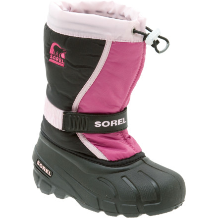 Besides the handy-dandy removable liner, the Sorel Little Girls Flurry TP Boot has a built-in gaiter with a barrel-lock closure system. The gaiter helps block snow when your gal falls off the sled and ends up sliding head-first down the hill. - $46.71