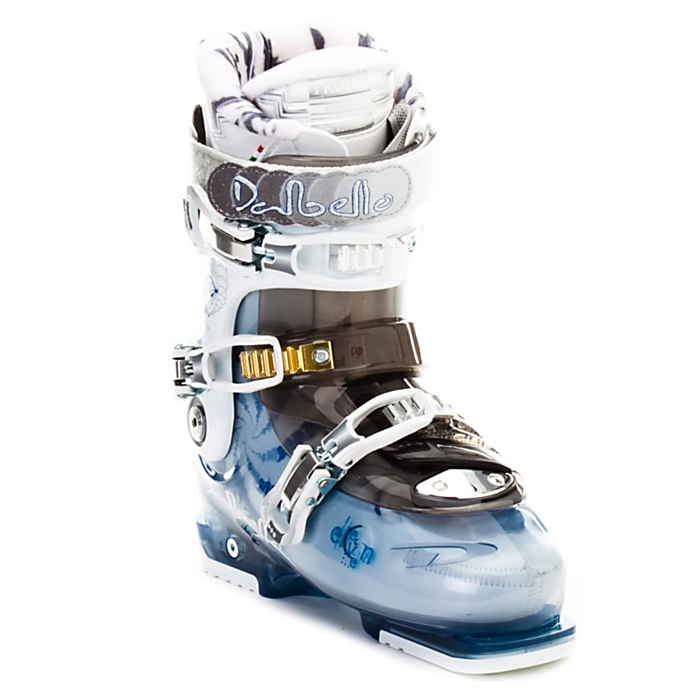 Ski Dalbello Raya 11 Womens Ski Boots - The Raya 11 is a performance boot rooted in comfort. With an 85 flex the Raya 11 is stiff enough for most skiers up through intermediate to less aggressive advanced skiers. The cabrio design provides a snug fit, when combined with Dynalink over the midfoot the ankle retention is wonderful. This allows the Raya 11 to feel like a performance boot while still being packed with extras that make it easy fitting, well cushioned, and warm all day. On the upper leg a low profile, women's specific cuff, that has ample volume expansion adjustment let the Raya 11 transform to fit just about any leg shape, as well as a single cuff alignment to help achieve a better skiing stance. The cushioning and warmth however are all provided by the Trufit Performer Woman liner. The medium dense foam transfers energy with a good precision feel without feeling stiff. It's also heat moldable and shapes perfectly to your foot and ankle shape. With all of this it's no wonder why the Raya 11 is so comfortable and quite impressive that is still skis with smooth precision and control. Features: Single Cuff Alignment, Ski/Walk Mechanism. Lining Material: Trufit Performer Woman Liner, Actual Flex: 85, Cuff Alignment: Single, Warranty: One Year, Gender: Womens, Special Features: Cuff Volume Expansion Adjustment, Type of Boot: Performance, Ski Boot Width: Medium (100-103mm), Shell Material: Bi-injected Polyether, Buckle Count/Type/Material: 3/Microadjustable/Aluminum, Features: Cabrio Design 3 Piece Technology, - $139.95