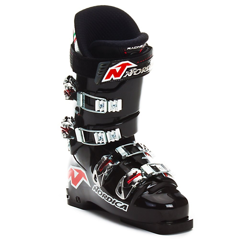 Ski Nordica Dobermann Aggressor 160 Race Ski Boots - For serious racers only! The Nordica Dobermann Aggressor 160 Race Ski Boots are designed for competitive racers looking for a snug fit and the stiffest flex available. The 95mm last and lace up liner are designed to fit snuggly, so your foot is in good contact with the shell of the boot. This close contact helps reduce reaction time, which is key in elite racing. When hundredths matter you can count on the Nordica Dobermann Aggressor 160. It is highly recommended that these boots be fit by a professional boot fitter to help get them dialed in perfectly for you. . Actual Flex: 160, Cuff Alignment: Dual, Warranty: One Year, Gender: Mens, Special Features: World Cup Race Design, Width: Narrow (95-99mm), Special Features: Aggressor Abducted Stance, Flex: Very Stiff, Race: Yes, Used: No, Ski/Walk: No, Prewired For Heat: No, Number of Micro Buckles: 4, Freestyle: No, Sidecountry: No, Forefoot Width: 95mm, Flex Adjustment: Yes, Buckle Count: 4, Buckle Material: Aluminum, Category: Race, Skill Range: Expert - Pro, Model Year: 2006, Product ID: 247275 - $79.97