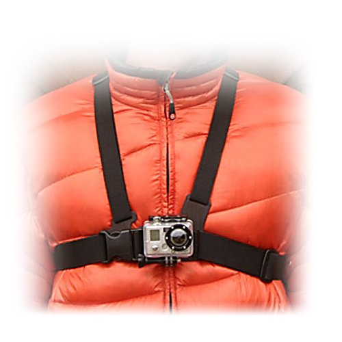 Ski For the person who desires a more immersive view than what a helmet mount can provide there's the GoPro Chest Mount Harness.  Quick release and easy-to-use, this chest mount is ideal for skiing, mountain biking, motocross, and just about any other activity where you want to see more footage of arms, knees, poles and skis.  This one size fits most chest mount is compatible with all GoPro quick-release cameras with the exception of the Wrist Camera and is Polycarbonate constructed.  Why settle for just one view, get a more diverse camera angle with the GoPro Chest Mount Harness.  Vertical Surface 'J-Hook' Buckle,  Polycarbonate Construction,  Stainless Steel,  Warranty: One Year,  One Size Fits Most,  Camera NOT Included,  Warranty: One Year, Race: No, Category: Helmet Cams, Model Year: 2015, Product ID: 213095, Model Number: GCHM30, GTIN: 0185323000989 - $39.95