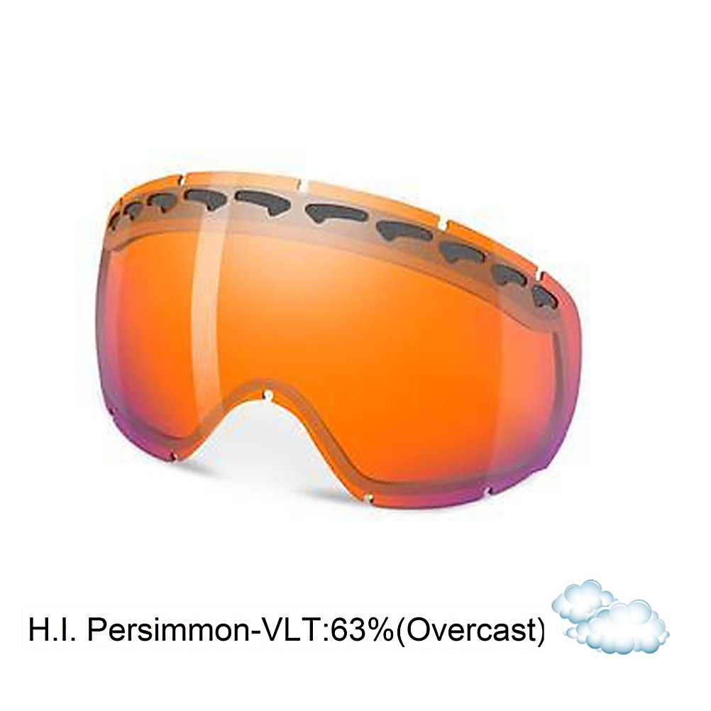Ski Oakley Crowbar Goggle Replacement Lens 2014 - The Crowbar Replacement Lens provide 100% UV protection from harmful rays while the Iridium coating reduces glare and offers a balanced light transmission for improved vision. They are made from a dual vented pure Plutonite material that has unsurpassed impact protection with unbeatable clarity while having been treated with a specially formulated permanent coating to resist fog buildup under any circumstances. The High Intensity Persimmon performs best in heavy snow or foggy conditions with a 55% rate of transmission. . Race: No, Category: Replacement Goggle Lenses, OTG: No, Comes w/ Case: No, Fog Fan: No, Frame Size: Medium, Spherical Lens: Yes, Polarized: No, Photochromatic: No, Rubberized Strap: No, Helmet Compatible: No, Frame Size: Fits Most Faces, Lens Shape: Spherical, Lens Coating: n/a, Has Fan: No, Model Year: 2014, Product ID: 280038, Headphones Included: No - $75.00