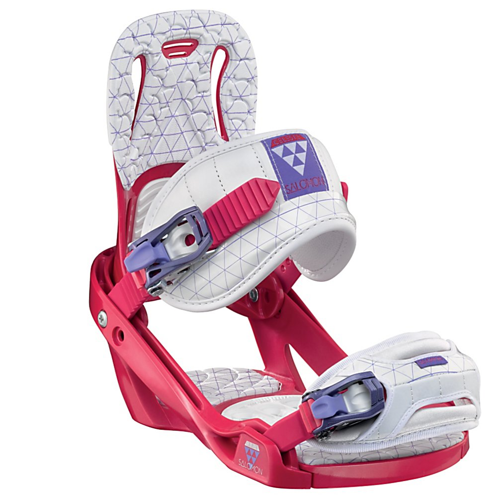 Snowboard Salomon Celeste Womens Snowboard Bindings - The Salomon Celeste binding makes progression for women seem endless. Women of any ability can strap into this binding and have the time of their life on the mountain. Its lightweight design is due to the Slasher baseplate that allows Salomon to shave 100g (per pair) from their other bindings. Polycarbonate material allows for even freestyle flex while throwing down your favorite tricks on the hill. Women Specific Geometry matched with 3D Prime Core Straps give women a complete unified fit between boot and binding. EVA pads on the binding provide support and comfort while riding so that you can spend more time riding without feeling fatigued. The Celeste binding will make any women rider feel like a pro all day every day. . Strap Material: 3D Prime Core Strap, Flex: Soft, HighBack: Optistream, Buckles: Viper Ratchets, Warranty: One Year, Traditional Burton (3D) Compatible: No, Standard 4 Hole Compatible: Yes, Chassis Material: Composite, Skill Range: Beginner - Advanced Intermediate, Skill Level: Beginner, Gender: Womens, Product ID: 284171, Model Year: 2012, ICS Channel Compatible: No, Canted Footbed: No, Quick Entry: No, Toe Strap Style: Cap, Recommended Use: All-Mountain Freestyle - $99.95