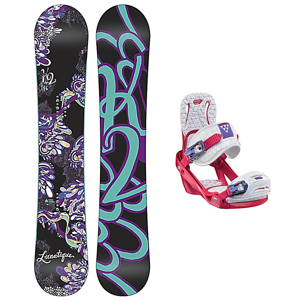 Snowboard K2 Lunatique Celeste Womens Snowboard and Binding Package - Clean style and good times are plentiful with the K2 Lunatique Womens Snowboard. Designed for the advancing woman rider that looks to experience it all. The All Terrain Rocker is ready to handle the mountain with confidence and ease. With solid edge control and easy going handling, the Lunatique is all style and smiles. This K2 Alliance collaboration creates effortless turns through all types of snow. Playful, light and always maneuverable, the K2 Lunatique will take you anywhere the snow flies. The Salomon Celeste binding makes progression for women seem endless. Women of any ability can strap into this binding and have the time of their life on the mountain. Its lightweight design is due to the Slasher baseplate design that allows Salomon to shave 100g (per pair) from our other bindings. Polycarbonate material allows for even freestyle flex while throwing down your favorite tricks on the hill. Women Specific Geometry matched with 3D Prime Core Straps give women a complete unified fit between boot and binding. EVA pads on the binding provide support and comfort while riding so that you can spend more time riding without feeling fatigued. The Celeste binding will make any women rider feel like a pro all day every day. . Recommended Use: All-Mountain, Snowboard Rocker Profile: Rocker, Package Type: Board and Bindings, Product ID: 294020, Gender: Womens - $329.99