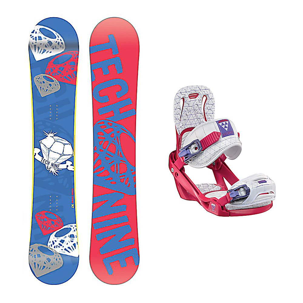 Snowboard Tech Nine Diamond Blue Celeste Womens Snowboard and Binding Package - The Technine Diamond Blue snowboard is an all-mountain directional freestyle that gives the up-and-coming rider the upper hand. A stable shape and soft flex gives you lightning edge-to-edge power for linking turns and the full wood core makes the Diamond lightweight and easy to ride. From a day of riding chairs with your friends to a mellow afternoon hike, the Diamond Blue will shine in any situation. The Salomon Celeste binding makes progression for women seem endless. Women of any ability can strap into this binding and have the time of their life on the mountain. Its lightweight design is due to the Slasher baseplate design that allows Salomon to shave 100g (per pair) from our other bindings. Polycarbonate material allows for even freestyle flex while throwing down your favorite tricks on the hill. Women Specific Geometry matched with 3D Prime Core Straps give women a complete unified fit between boot and binding. EVA pads on the binding provide support and comfort while riding so that you can spend more time riding without feeling fatigued. The Celeste binding will make any women rider feel like a pro all day every day. . Recommended Use: All-Mountain Freestyle, Snowboard Rocker Profile: Camber, Package Type: Board and Bindings, Product ID: 294081, Gender: Womens - $279.99