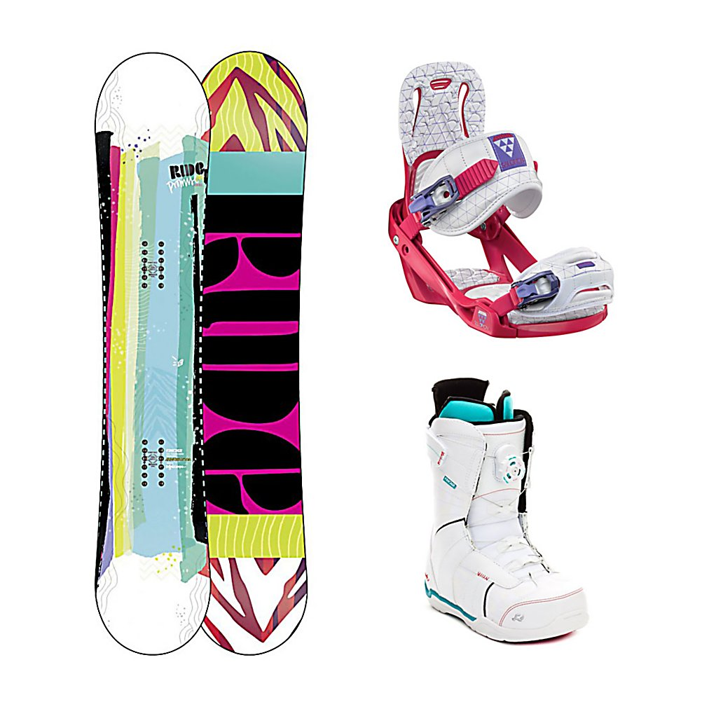 Snowboard Ride Promise Celeste Sage BOA Womens Complete Snowboard Package - Pledging all around performance, Ride brings you the Promise Snowboard. The Promise vows to be a fun and fulfilling Ride no matter where the day may take you. Featuring Ride's LowPro shape with loose, playful LowRize rocker in the tip and stable, grippy ProRize in the tail. Combined with 90A Slimewalls and Carbon Array 3, this responsive smooth Ride will not disappoint...Ride Promises. The Salomon Celeste binding makes progression for women seem endless. Women of any ability can strap into this binding and have the time of their life on the mountain. Its lightweight design is due to the Slasher baseplate design that allows Salomon to shave 100g (per pair) from our other bindings. Polycarbonate material allows for even freestyle flex while throwing down your favorite tricks on the hill. Women Specific Geometry matched with 3D Prime Core Straps give women a complete unified fit between boot and binding. EVA pads on the binding provide support and comfort while riding so that you can spend more time riding without feeling fatigued. The Celeste binding will make any women rider feel like a pro all day every day. Advance your shredding skills in style with the Ride Sage Boa Snowboard boots. Designed for ladies looking to step up their game, the Sage's heat-moldable Intuition Plush Liner provides the ultimate in cush comfort, support and warmth. Featuring the Boa Coiler lacing system with The Close lace guide, the Sage is built for high-level comfort that allows the focus to remain - $479.99