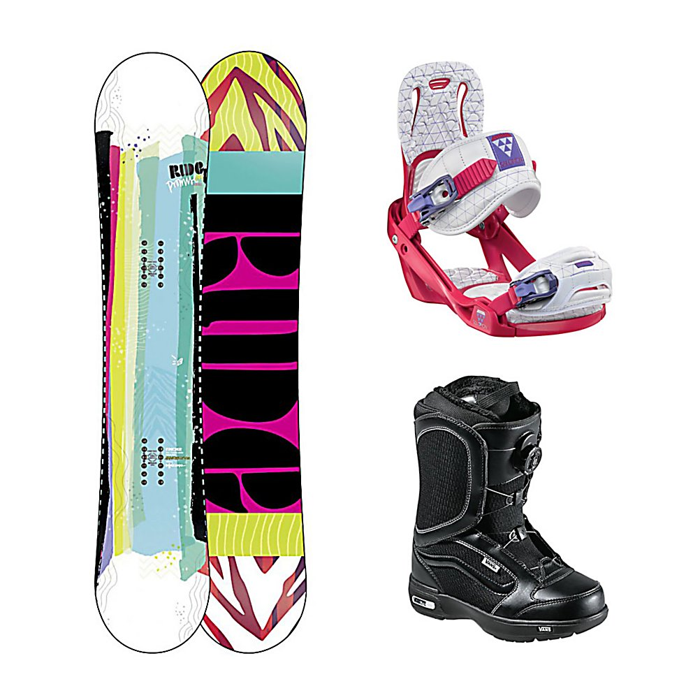 Snowboard Ride Promise Celeste Encore Womens Complete Snowboard Package - Pledging all around performance, Ride brings you the Promise Snowboard. The Promise vows to be a fun and fulfilling Ride no matter where the day may take you. Featuring Ride's LowPro shape with loose, playful LowRize rocker in the tip and stable, grippy ProRize in the tail. Combined with 90A Slimewalls and Carbon Array 3, this responsive smooth Ride will not disappoint...Ride Promises. The Salomon Celeste binding makes progression for women seem endless. Its lightweight design is due to the Slasher baseplate design that allows Salomon to shave 100g (per pair) from our other bindings. Polycarbonate material allows for even freestyle flex while throwing down your favorite tricks on the hill. Women Specific Geometry matched with 3D Prime Core Straps give women a complete unified fit between boot and binding. EVA pads on the binding provide support and comfort while riding so that you can spend more time riding without feeling fatigued. The Vans Encore Snowboard Boots feature a soft, forgiving flex with the quick and easy Boa Coiler lacing system. These boots also feature a pleasure cuff that was designed to allow the cuff of the boot to adjust to your specific calf size to keep the boots comfortable and forgiving on your feet. Full instep articulation on the Vans Encore allows the upper and lower zones of the boots to flex independently to give you one fluid motion. A better fit and comfort is enhanced by the internal web harness and OTW lace lock that gives you a better fit and - $479.99
