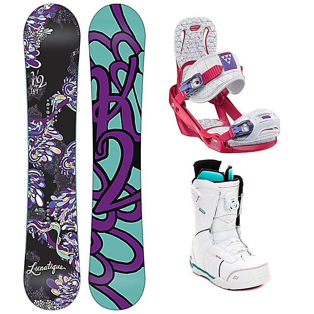 Snowboard K2 Lunatique Celeste Sage Boa Womens Complete Snowboard Package - Clean style and goodtimes are plentiful with the K2 Lunatique Womens Snowboard. Desgined for the advancing woman rider that looks to experience it all. The All Terrain Rocker is ready to handle the mountain with confidence and ease. With solid edge control and easy going handling, the Lunatique is all style and smiles. This K2 Alliance collaboration creates effortless turns through all types of snow. Playful, light and always maneuverable, the K2 Lunatique will take you anywhere the snow flies. The Salomon Celeste binding makes progression for women seem endless. Women of any ability can strap into this binding and have the time of their life on the mountain. Its lightweight design is due to the Slasher baseplate design that allows Salomon to shave 100g (per pair) from our other bindings. Women Specific Geometry matched with 3D Prime Core Straps give women a complete unified fit between boot and binding. EVA pads on the binding provide support and comfort while riding so that you can spend more time riding without feeling fatigued. The Celeste binding will make any women rider feel like a pro all day every day. Advance your shredding skills in style with the Ride Sage Boa Snowboard boots. Designed for ladies looking to step up their game, the Sage's heat-moldable Intuition Plush Liner provides the ultimate in cush comfort, support and warmth. Featuring the Boa Coiler lacing system with The Close lace guide, the Sage is built for high-level comfort that allows the focus to rem - $469.99