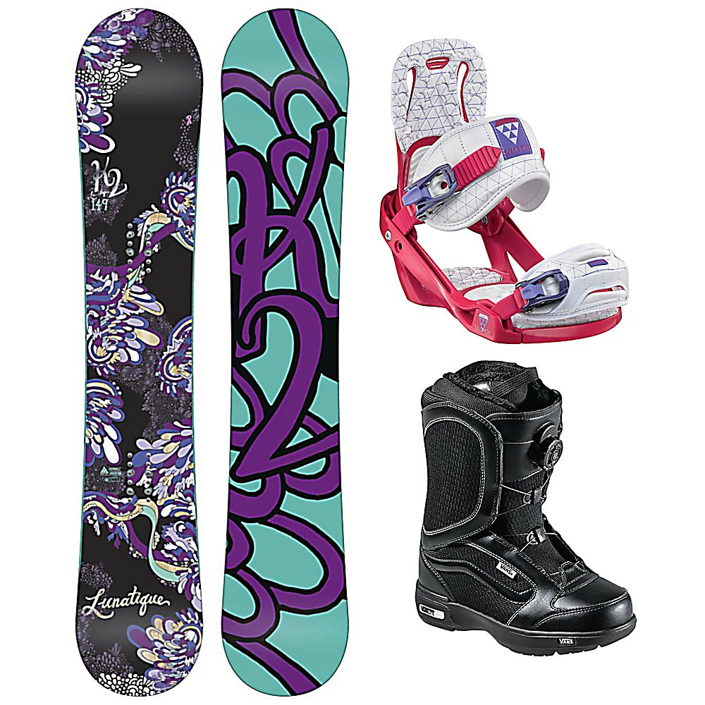 Snowboard K2 Lunatique Celeste Encore Womens Complete Snowboard Package - Clean style and goodtimes are had with the K2 Lunatique Womens Snowboard. Designed for the advancing woman rider that looks to experience it all. The All Terrain Rocker is ready to handle the mountain with confidence and ease. With solid edge control and easy going handling, the Lunatique is all style and smiles. This K2 Alliance collaboration creates effortless turns through all types of snow. Playful, light and always maneuverable, the K2 Lunatique will take you anywhere the snow flies. The Salomon Celeste binding makes progression for women seem endless. Women of any ability can strap into this binding and have the time of their life on the mountain. Its lightweight design is due to the Slasher baseplate design that allows Salomon to shave 100g (per pair) from our other bindings. Women Specific Geometry matched with 3D Prime Core Straps give women a complete unified fit between boot and binding. EVA pads on the binding provide support and comfort while riding so that you can spend more time riding without feeling fatigued. The Celeste binding will make any women rider feel like a pro all day every day. The Vans Encore Snowboard Boots are the original and best selling boots in the Vans line and they have gotten better for 2012. They feature a soft, forgiving flex with the quick and easy Boa Coiler lacing system. These boots also feature a Pleasure cuff that was designed to allow the cuff of the boot to adjust to your specific calf size to keep the boots comfortable and forg - $469.99