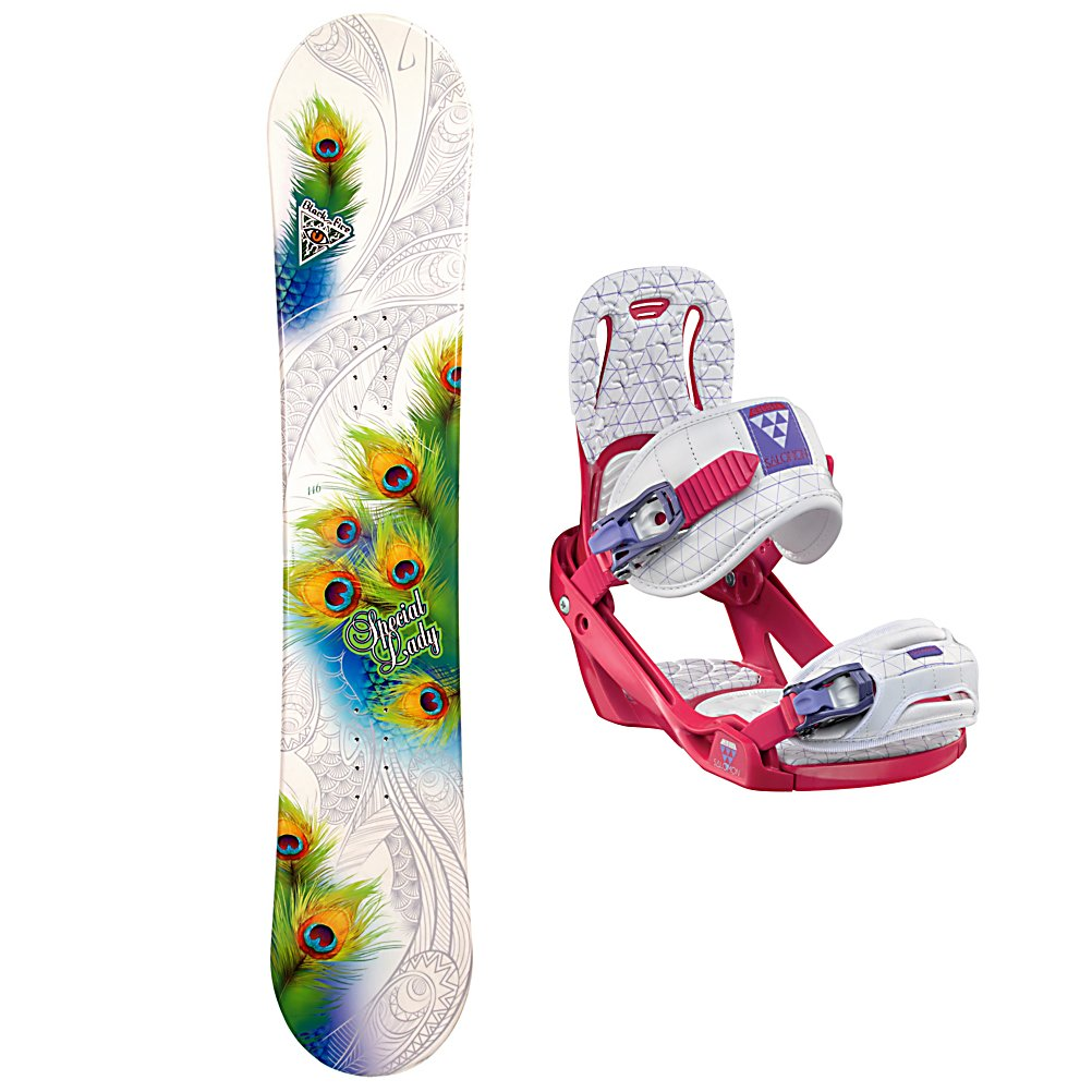 Snowboard Black Fire Special Lady Womens Snowboard and Binding Package 2013 - The Black Fire Special Lady Womens Snowboard is a very good entry-level snowboard so you can progress for just-a-beginner to queen of the mountain. This board offers a camber profile which will help provide you with a very good edge hold so you can learn how to carve your way down the slope. This board offers a little bit of pop which makes jumps and learning how to navigate the park a little easier. This responsive board is a great choice to help save you some money instead of renting. This is one you can call your own and by getting used to the way it works will help with the progression of your skills. The Black Fire Special Lady Womens Snowboard is perfect for the entry-level rider who can't wait until the snow falls so they can head back to the mountain for another riding session. The Salomon Celeste binding makes progression for women seem endless. Women of any ability can strap into this binding and have the time of their life on the mountain. Its lightweight design is due to the Slasher baseplate that allows Salomon to shave 100g (per pair) from their other bindings. Polycarbonate material allows for even freestyle flex while throwing down your favorite tricks on the hill. Women Specific Geometry matched with 3D Prime Core Straps give women a complete unified fit between boot and binding. EVA pads on the binding provide support and comfort while riding so that you can spend more time riding without feeling fatigued. The Celeste binding will make any women rider feel l - $199.99