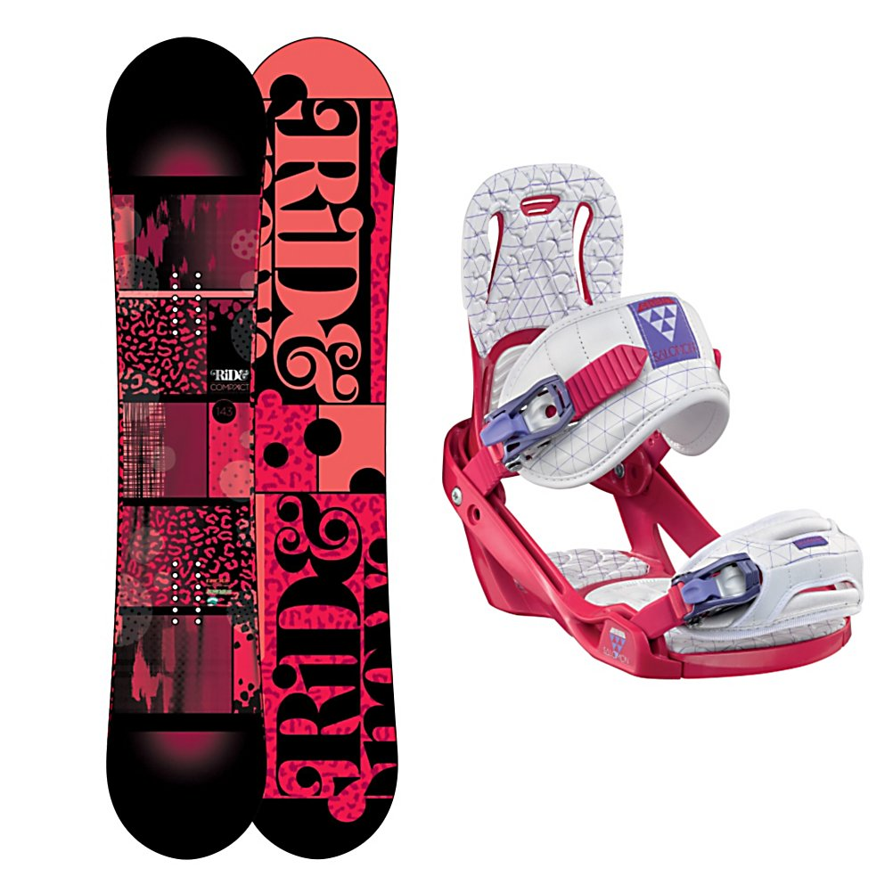 Snowboard Ride Compact Womens Snowboard and Binding Package 2013 - The Ride Compact Snowboard Package offers plenty of pop with maximum durability. The Ride Compact Snowboard itself has a LowRize Rocker which provides you with a forgiving hook free ride and ensures that this board is easy to control with great edge. With the proven urethane Slimewalls you are looking at floating on the smoothest ride out there. The Compact also has a twin design for if you're a lady that likes to spend time in the park you'll have plenty of freestyle freedom. The Salomon Celeste Bindings are all about progression so you can feel like a pro every day you're on the mountain. It's lightweight with a freestyle flex so you can work on your best tricks. Women Specific Geometry matched with 3D Prime Core Straps give women a complete unified fit between boot and binding and you'll have plenty of support and comfort thanks to the EVA Pads. Designed for the intermediate rider, grab hold of the Ride Compact Snowboard Package and hit any spot on the mountain you'd like. . Recommended Use: All-Mountain Freestyle, Snowboard Rocker Profile: Rocker, Package Type: Board and Bindings, Model Year: 2013, Product ID: 305340, Gender: Womens - $419.99