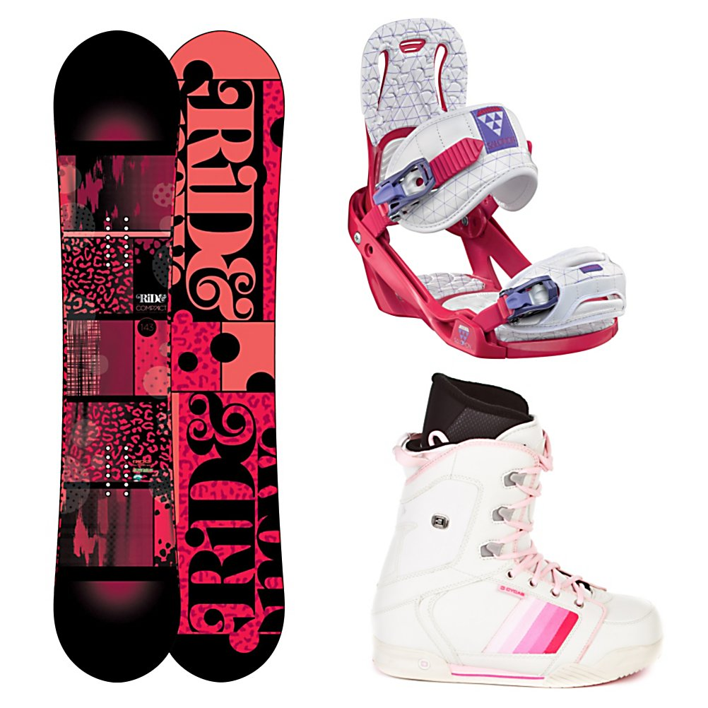 Snowboard Ride Compact Womens Complete Snowboard Package 2013 - The Ride Compact Snowboard Package offers plenty of pop with maximum durability with comfortable boots, strong and lightweight bindings and durable board. The Ride Compact Snowboard itself has a LowRize Rocker which provides you with a forgiving hook free ride and ensures that this board is easy to control with great edge. With the proven urethane Slimewalls you are looking at floating on the smoothest ride out there. The Compact also has a twin design for if you're a lady that likes to spend time in the park you'll have plenty of freestyle freedom. The Salomon Celeste Bindings are all about progression so you can feel like a pro every day you're on the mountain. It's lightweight with a freestyle flex so you can work on your best tricks. Women Specific Geometry matched with 3D Prime Core Straps give women a complete unified fit between boot and binding and you'll have plenty of support and comfort thanks to the EVA Pads. The CYCAB A50 Womens snowboard boots are made specifically for women They are made up of a synthetic leather which makes the A50 a very tough and stylish pair of boots. The liners are shaped specifically to the contour of a women's foot which makes them extremely supportive and comfortable. Traditional lacing on these boots allow you to get an old school fit for maximum fit and comfort. Designed for the intermediate rider, grab hold of the Ride Compact Snowboard Package and hit any spot on the mountain you'd like. . Recommended Use: All-Mountain Freestyle, Sn - $449.99