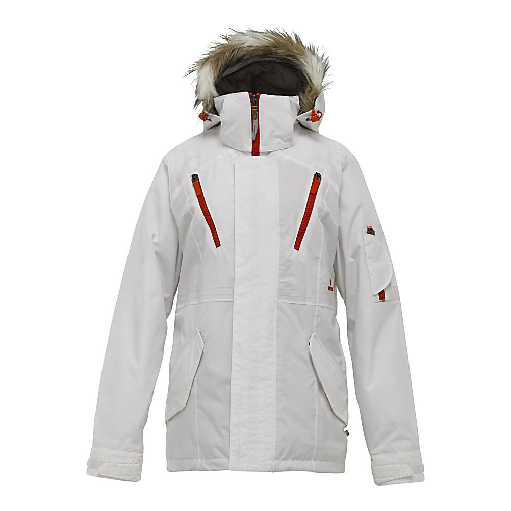Snowboard Burton Prowess Womens Insulated Snowboard Jacket - Let's be honest, most of us rely on the climate to enjoy our love for snowboarding. So we should do what we can minimize our Earthly footprint. Introducing the Burton Prowess jacket. The Prowess features Burton's DRYRIDE Durashell 2-Layer Eco-Laminated 100% Recycled polyester ripstop fabric with 10,000mm of waterproofing and 10,000g of breathability. The Defender Colorway is made with Organic Cotton and Hemp blended fabric. The lining is constructed from 100% recycled Taffeta. Even the insulation is made from 100% Recycled 3M Thinsulate Platinum! That's 70g of Earth friendly insulation to keep you warm and cozy. The underarms have 40g of X-STATIC silver fiber to fight the funk. Trust me, your friends will thank us during the car ride home. But please, do use the mesh-lined pit zips to let the cool breeze in once in a while. Fully taped seams completely lock out water, preventing it from slipping through the cracks. The fulltime contour hood is there for those snowy days. Not feeling the faux fur? No worries, it's removable. Put your music box into the sound pocket and shred to your favorite playlist. Go ahead and take a spare set of goggles with you as well because the Prowess features a venting anti-fog goggle pocket. About to slash some powder turns? Then use the jacket-to-pant interface with your favorite Burton pant and carry on. All this tech under a neat 'green' package. Let's meditate. Features: X-Static - The Silver Fiber [40g Arm Pits], Mesh-Lined Pit Zips, Fully Tap - $99.95