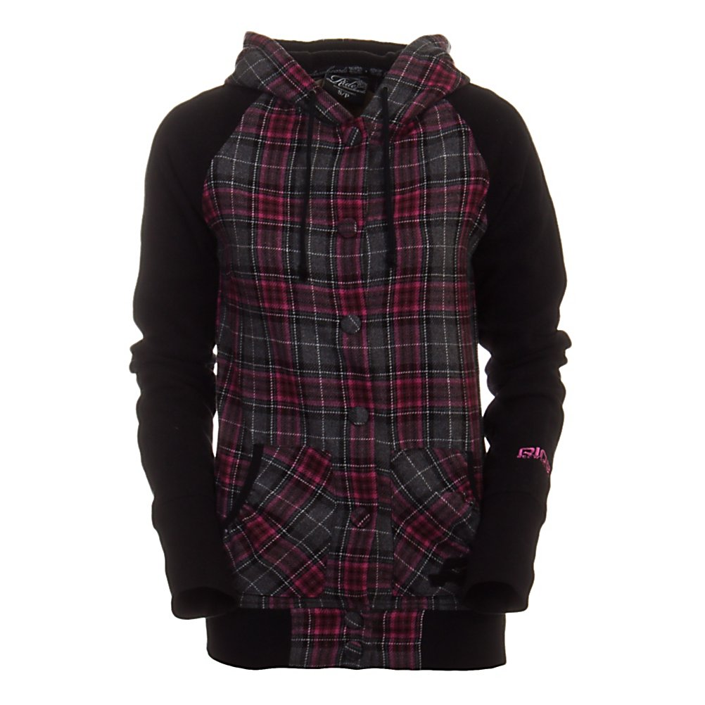 Ski Ride Plaid Snap Up Womens Hoodie - The Ride Plaid Snap Up Hoodie provides the comfort you crave with a uniquely feminine style. The durable poly/wool blend fabric is toasty warm and conveniently low maintenance so you can rock it with just about anything in your wardrobe. A plush Sherpa lined hood and custom snaps up the front complete the easy, go-with-the-flow laid back look. With a Ride chenille patch on the sleeve and embroidered logo on the hand warmer pockets the Snap Up hoodie shows your down for the Ride. . Hood Type: Fixed, Material: 70% Polyester/30% Wool Blend, Fleece Weight: Mid, Category: Mid-Weight, Hood: No, Warranty: Other, Battery Heated: No, Closure Type: Hooded, Wind Protection: Yes, Type: Hoodies, Weatherproof: No, Material: Wool/Synthetic Blend, Pockets: 1-2, Wicking Properties: No, Sleeve Type: Long Sleeve, Water Resistant: No, Model Year: 2011, Product ID: 248386, Shipping Restriction: This item is not available for shipment outside of the United States. - $44.95