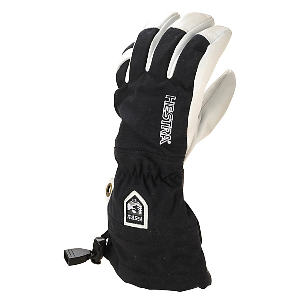 Ski When the little ones are hitting the slopes you'll want their hands well protected from the cold and snow. With the Hestra Heli Junior Ski Gloves, their fingers will be warm and cozy. Included is a Bemberg/Polyester Insulation liner which has the option of being removed if their hands get too warm or at the end of the day for quicker drying. A Snow Lock helps keep the wintry mix on the outside of the glove and an Eagle Grip, pre-curved finger construction, for a relaxed and comfy feel. When your child wears a pair of the Hestra Heli Junior Ski Gloves they won't have the complaints of cold hands and the desire to go in and warm up.  Bemberg/Polyester Insulation,  Snow Lock,  Eagle Grip,  Snap Hook with Eyelet,  Type: Glove, Use: Ski/Snowboard, Pipe Glove: No, Model Year: 2017, Product ID: 269906, Model Number: 30560-100-04, GTIN: 7332540649214, Glove/Mitten Insulation: Synthetic, Glove Weather Condition: Frigid, Glove Quality: Best, Touch Screen Capable: No, Down Filled: No, Cuff Style: Over the cuff, Breathable: Yes, Waterproof: Yes, Glove Outer Fabric: Leather/Synthetic, Wristguards: No, Race: No, Battery Heated: No, Warranty: Lifetime, Material: Army Leather-Goat Leather, Removable Liner: Yes - $99.95