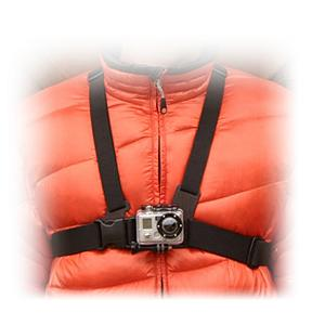 Ski For the person who desires a more immersive view than what a helmet mount can provide there's the GoPro Chest Mount Harness.  Quick release and easy-to-use, this chest mount is ideal for skiing, mountain biking, motocross, and just about any other activity where you want to see more footage of arms, knees, poles and skis.  This one size fits most chest mount is compatible with all GoPro quick-release cameras with the exception of the Wrist Camera and is Polycarbonate constructed.  Why settle for just one view, get a more diverse camera angle with the GoPro Chest Mount Harness.  Vertical Surface 'J-Hook' Buckle,  Polycarbonate Construction,  Stainless Steel,  Warranty: One Year,  One Size Fits Most,  Camera NOT Included,  GTIN: 0185323000989, Model Number: GCHM30, Product ID: 213095, Model Year: 2015, Category: Helmet Cams, Race: No, Warranty: One Year - $39.95