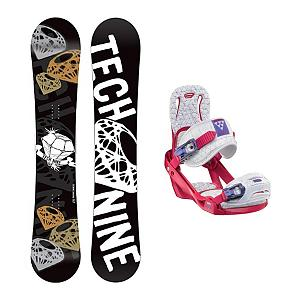 Snowboard Tech Nine Diamond Black Celeste Womens Snowboard and Binding Package - The Technine Diamond Black snowboard is an all-mountain directional freestyle that gives the up-and-coming rider the upper hand. A stable shape and soft flex gives you lightning edge-to-edge power for linking turns and the full wood core makes the Diamond lightweight and easy to ride. From a day of riding chairs with your friends to a mellow afternoon hike, the Diamond Black will shine in any situation. This package also features the skill advancing Ride LXH binding. The LXH features the new RAD ankle strap which provides unbeatable comfort with good support to help keep you out of the lodge and on the hill progressing to the next level. The LXH is also featuring the new easy to use AstroGlyde CP ratchets made from super-tough composite. The all new LuxLite highback offers comfort and control with softer top-flex. You cannot beat the blend of comfort and performance the Ride LXH Bindings has to offer you entry level to intermediate ladies. . Recommended Use: All-Mountain Freestyle, Snowboard Rocker Profile: Camber, Package Type: Board and Bindings, Product ID: 294059, Gender: Womens - $319.99