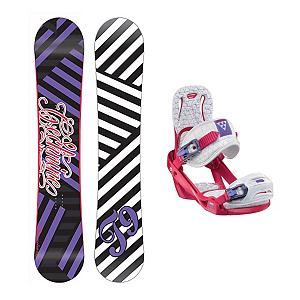Snowboard Tech Nine Glam Rocker Celeste Womens Snowboard and Binding Package - The Technine Glam Rocker is going to help you squeeze every bit of juice out of your buck. The awesome reverse camber shape will deliver some of the best days shredding in your life without making you go bankrupt. Technine's 9 Rocks reverse camber is fun and easy to ride. From your first day of the season to your last, this is the perfect board for having a good time in the park. The Salomon Celeste binding makes progression for women seem endless. Women of any ability can strap into this binding and have the time of their life on the mountain. Its lightweight design is due to the Slasher baseplate design that allows Salomon to shave 100g (per pair) from our other bindings. Polycarbonate material allows for even freestyle flex while throwing down your favorite tricks on the hill. Women Specific Geometry matched with 3D Prime Core Straps give women a complete unified fit between boot and binding. EVA pads on the binding provide support and comfort while riding so that you can spend more time riding without feeling fatigued. The Celeste binding will make any women rider feel like a pro all day every day. . Recommended Use: Freestyle, Snowboard Rocker Profile: Rocker, Package Type: Board and Bindings, Product ID: 294099, Gender: Womens - $269.99