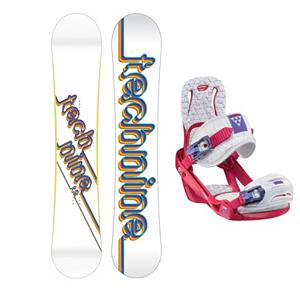Snowboard Tech Nine Technine T9 White Womens Snowboard and Binding Package 2013 - Following the pedigree of other Technine Transworld good wood winners, the T9 White snowboard is built for fun and function. Stability and performance is the name of the game and the medium-to-soft flex offers the versatility needed to win it. The T9 White is buttery and playful but serious enough to take your riding to the next level. Paired with the Salomon Celeste binding makes progression for women seem endless. Women of any ability can strap into this binding and have the time of their life on the mountain. Its lightweight design is due to the Slasher baseplate that allows Salomon to shave 100g (per pair) from their other bindings. Polycarbonate material allows for even freestyle flex while throwing down your favorite tricks on the hill. Women Specific Geometry matched with 3D Prime Core Straps give women a complete unified fit between boot and binding. EVA pads on the binding provide support and comfort while riding so that you can spend more time riding without feeling fatigued. The Celeste binding will make any women rider feel like a pro all day every day. . Recommended Use: Freestyle, Snowboard Rocker Profile: Camber, Package Type: Board and Bindings, Model Year: 2013, Product ID: 301947, Gender: Womens - $269.99